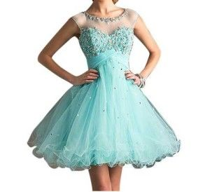 Unique puffy short poofy prom dresses 2014 in mint green blue and unique style