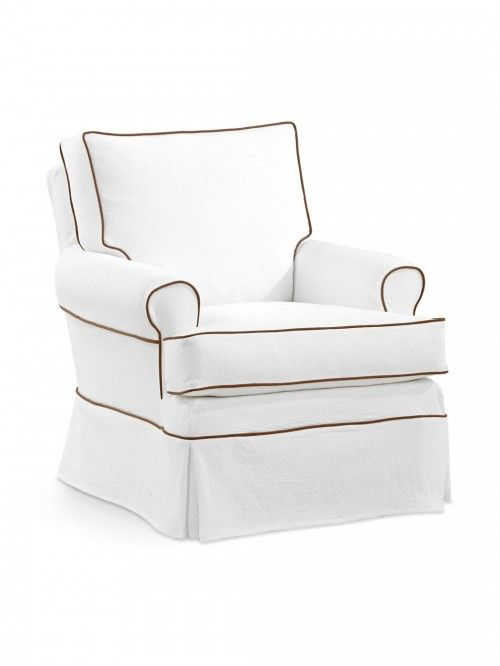 Seaport T Petite Accent Chair, Melrose Bleach with Serenity Latte Welt