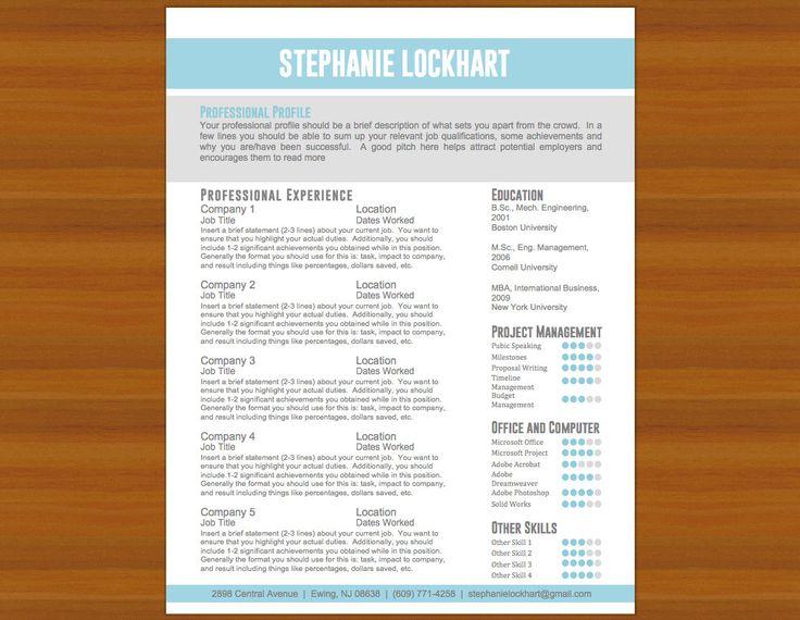 Resume / CV & Cover Letter The Lockhart Light Blue