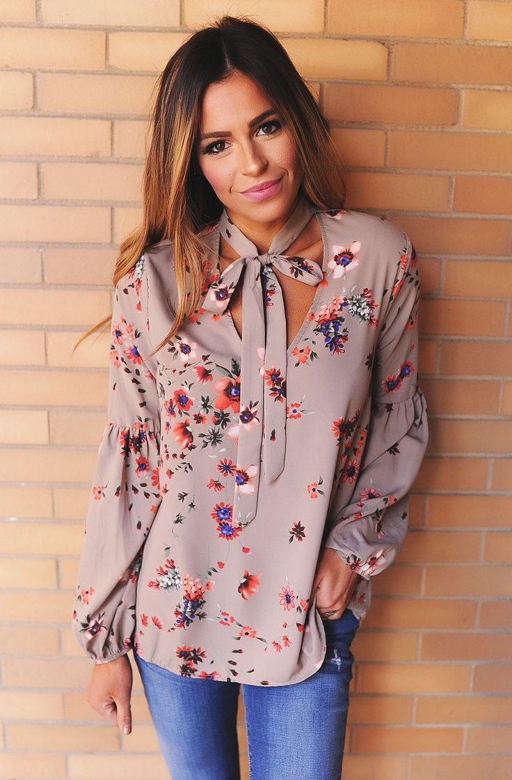 Taupe Floral Tie Neck Blouse - Dottie Couture Boutique