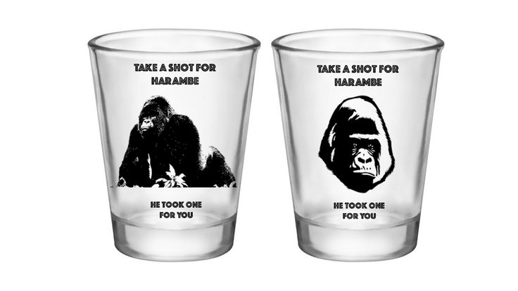 Never forget our beloved fallen gorilla brother, Harambe. These shot glasses not…