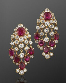 Ruby and Diamond Chandelier Earrings, French, circa 1960s | Fred Leighton