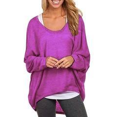 Fashion spring plus size t shirts brief irregular tops sexy Batwing Long Sleeve t-shirt plus size basic shirt 63 - Purple / XL