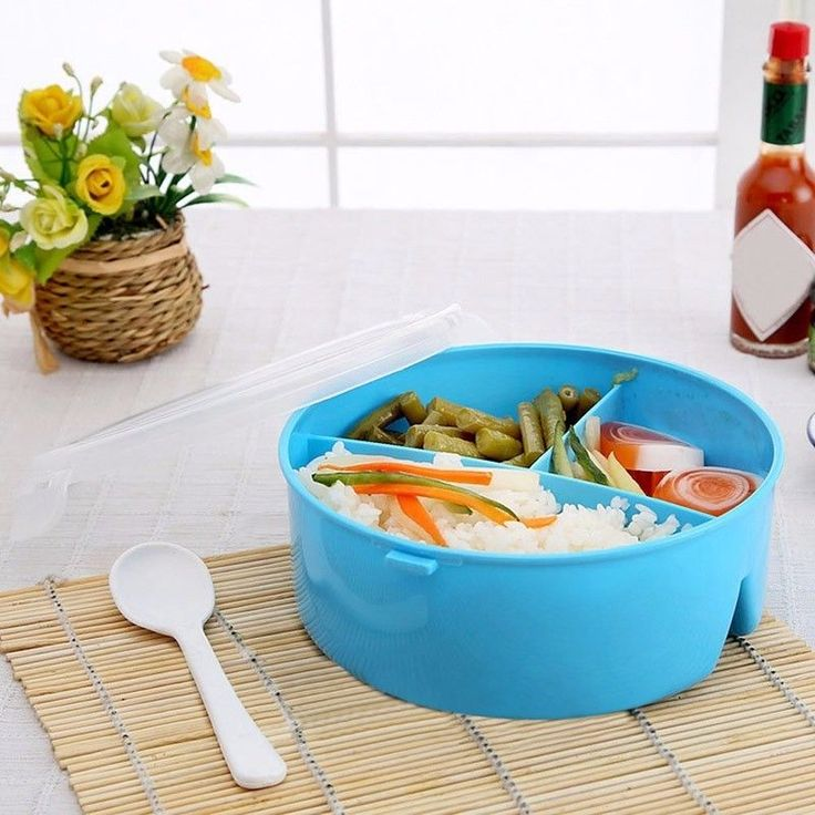 Round Portable Microwave Lunch Box Picnic Bento Food Container Storage W/Spoon
