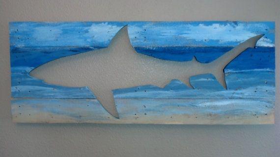 Galapagos Shark Wood Wall Art Hanging Beach by KinportDesigns