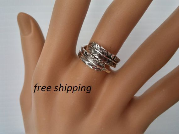 Sterling zilveren veer ring boho gypsie ring door silveroceanjewels