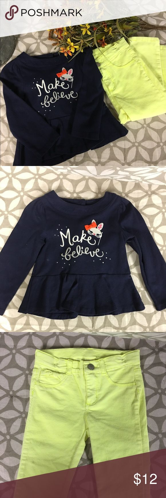 Girl's Gymboree Outfit Gently used corduroy neon yellow pants and navy blue shirt with button on the back for easy slip-on.  Tiny stain on pant leg shown in pic 3.    18-24mos Gymboree Shirts & Tops Tees - Long Sleeve