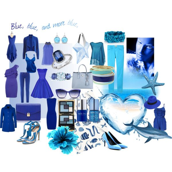 """""""Blue, blue, and more blue"""" by nikita-17 on Polyvore"""