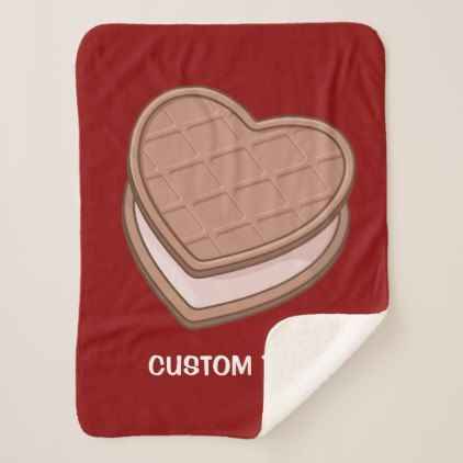 Heart biscuit sherpa blanket - home gifts ideas decor special unique custom individual customized individualized