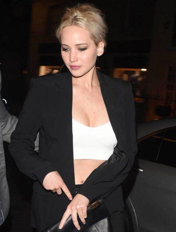 Jennifer Lawrence in London last night