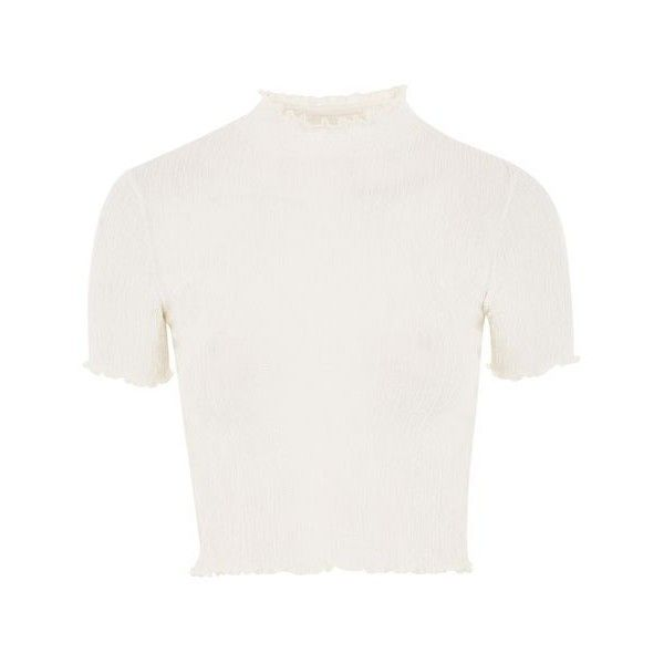 Topshop Textured Ruffle Neck Crop Top ($20) ❤ liked on Polyvore featuring tops, short sleeve tops, ruffle top, cream crop top, white high neck top and white short sleeve top