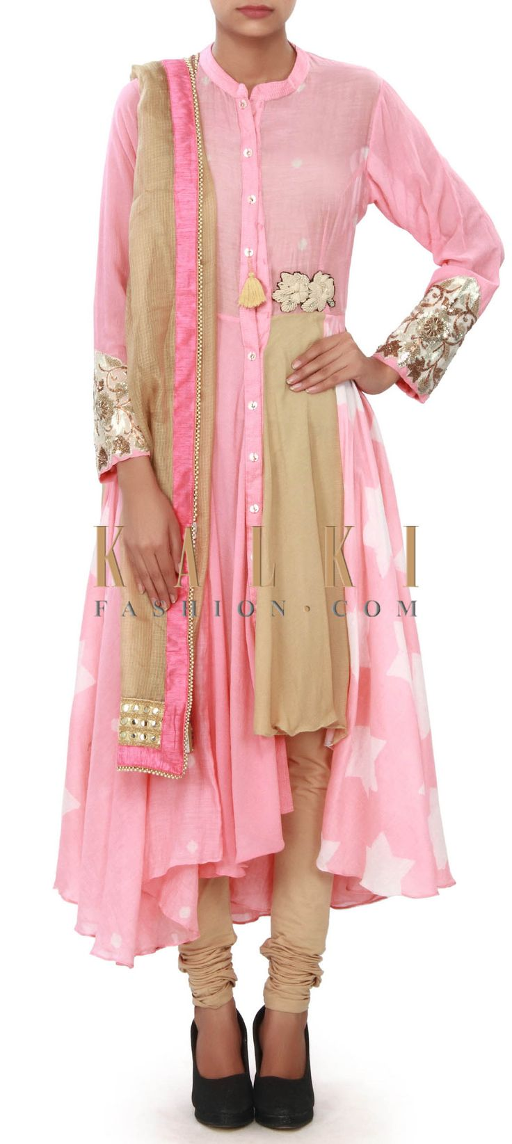 Buy Online from the link below. We ship worldwide (Free Shipping over US$100) Price- $209 Click Anywhere to Tag http://www.kalkifashion.com/pink-suit-enhanced-in-front-slit-only-on-kalki.html