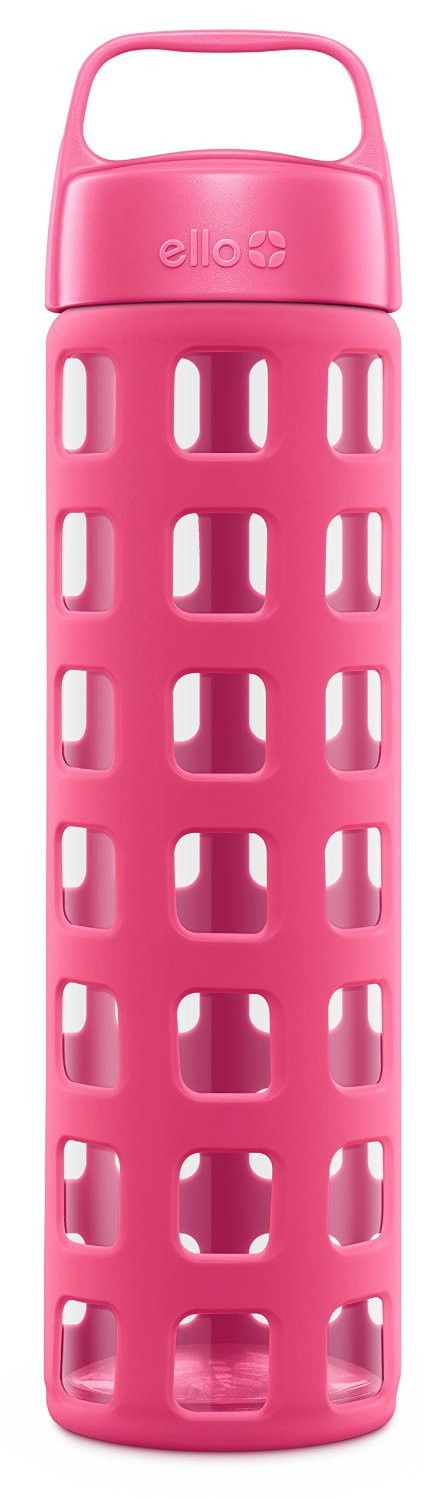 Ello Pure 20 Ounce BPA Free Glass Water Bottle with Lid, Pink Squares