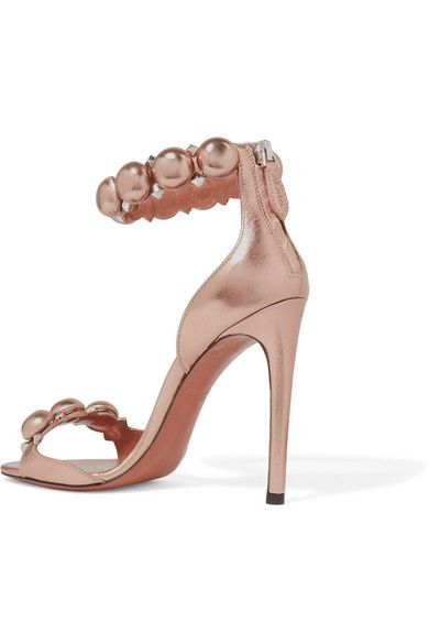 Heel measures approximately 110mm/ 4.5 inches Rose gold leather Zip fastening along back Made in Italy