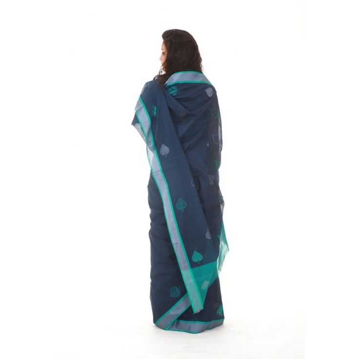 Cotton Silk Peacock Blue Basavan Bigha Saree