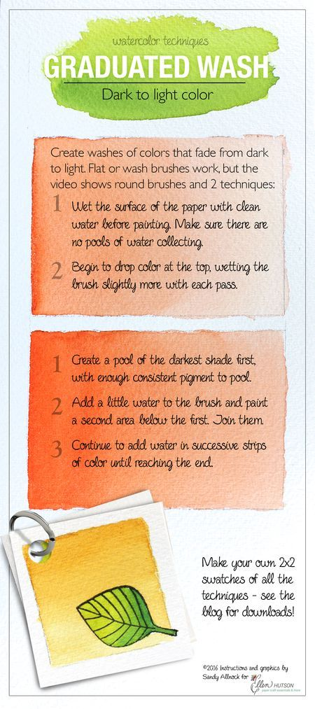 Tips for creating a Graduated Wash with your watercolors from @sandyallnock for the #EllenHutsonLLC blog. #WatercoloringwithSandy