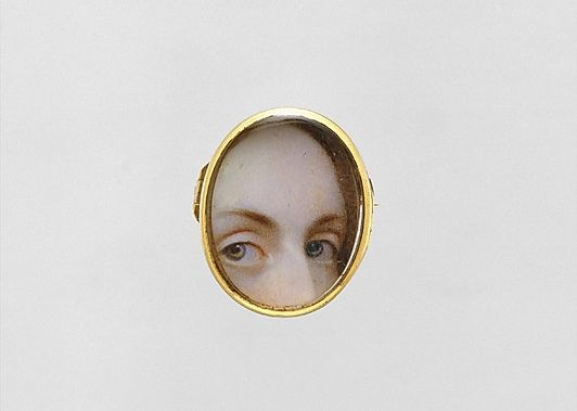 """The secret history of 'lover's eyes'  In the 18th and 19th centuries, wealthy British and European lovers exchanged """"eye miniatures"""" — love tokens so clandestine that even now, in the majority of cases, it is impossible to identify their recipients or the people they depict.  Experts believe that there are fewer than 1,000 """"lover's eyes"""" in existence today.   Apparently, they were meant to be worn inside the lapel, near the heart.: Miniatures, European Lovers, Antiques Lovers, 19Th Century, 1840 Lovers, Lovers Exchange, Lovers Eye, Eye Jewelry, Metropolitan Museums"""