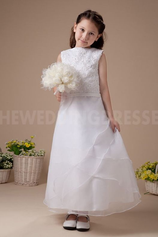 Strapless Classic Flower Girl Dress - Order Link: http://www.theweddingdresses.com/strapless-classic-flower-girl-dress-twdn5385.html - Embellishments: Embroidery; Length: Floor Length; Fabric: Organza; Waist: Natural - Price: 91.5913USD