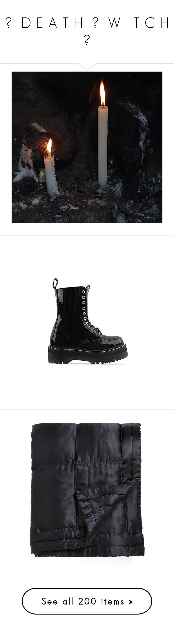 """☠ ⛧  D E A T H  ☿  W I T C H ⛧ ☠"" by void-witch ❤ liked on Polyvore featuring shoes, boots, black, dr martens shoes, dr. martens, black boots, platform shoes, black faux boots, home and bed & bath"