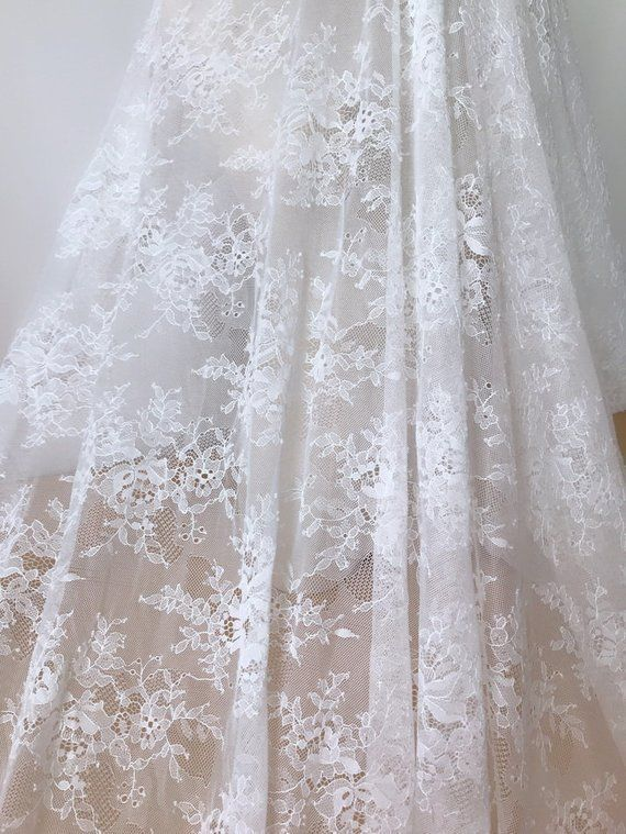 Elegant Chantilly Lace Off-white French Lace Fabric Soft Baptism Gown Bridal Dress Fabric By the yard