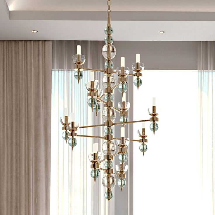 Art Deco Inspired Italian Murano Glass Chandelier