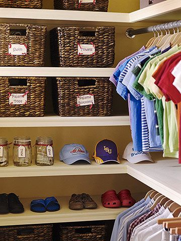 Keep Storage Easy - Hassle-free equates to clutter-free in kids' closets. Keep commonly used items in plain sight to make it easy to fetch them and put them away. In this closet, simple open shelves are perfect for lining up shoes and hats for grab-and-go access.