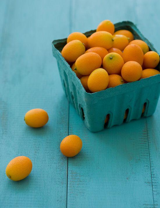 Kumquats on Homemade DIY Distressed Wood Background: Colour, Orange, Idea, Fruit, Wood, Colors, Food, Blue Table
