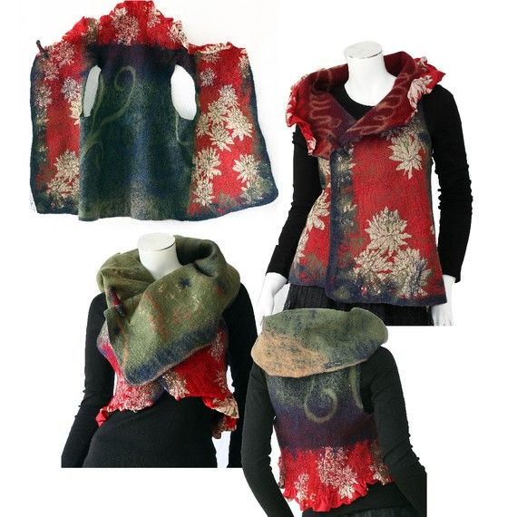 Items similar to Amazing joyful nuno art vest 4 in 1 on Etsy