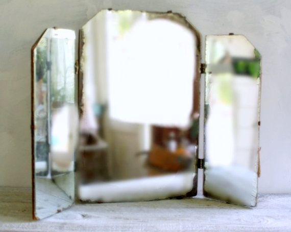 Vintage Minimalist Tri Fold Vanity Mirror Gt Gt My Etsy Shop