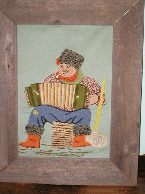 Embroidered Folk Art Accordian Player Fisherman with Barnwood Frame