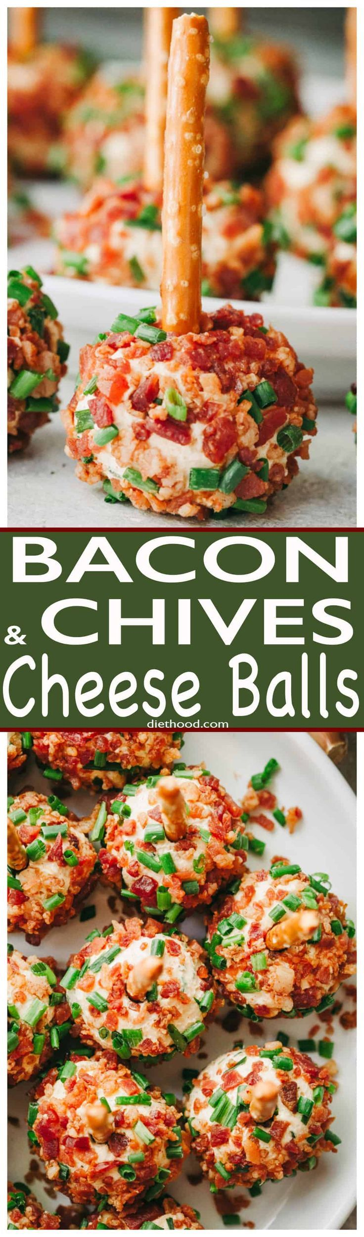 Bacon and Chives Cheese Balls Recipe - Easy, cheesy and bacony bite-size appetizer ideal for your Holiday parties or even game days! #bacon #holidays #appetizers #cheese via @diethood