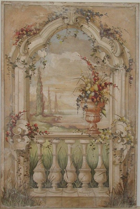 Decorative archway with a landscape and vase of flowers   Italian Frescoes