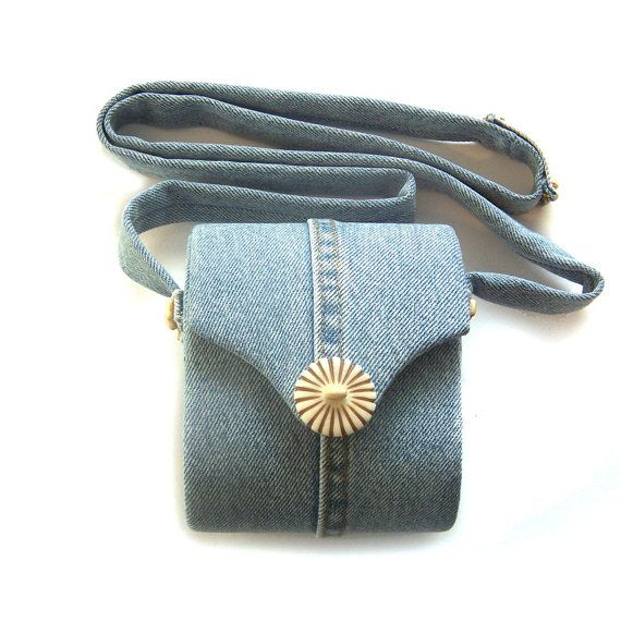Repurposed Upcycled Recycled Denim Shoulder Bag Small