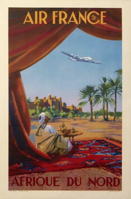 air france afrique du nord : 1949 affiches anciennes de GUERRA