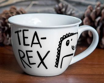 Tea-Rex >> Ceramic Coffee Mug >> Coffee Cup >> Hand Painted >> Unique T-Rew Design >> Customizable