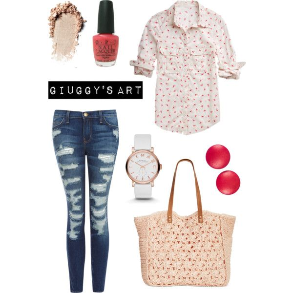 Cherry blossom by giuggysart on Polyvore featuring polyvore, moda, style, maurices, Current/Elliott, Straw Studios, MARC BY MARC JACOBS, Charles Jourdan and OPI