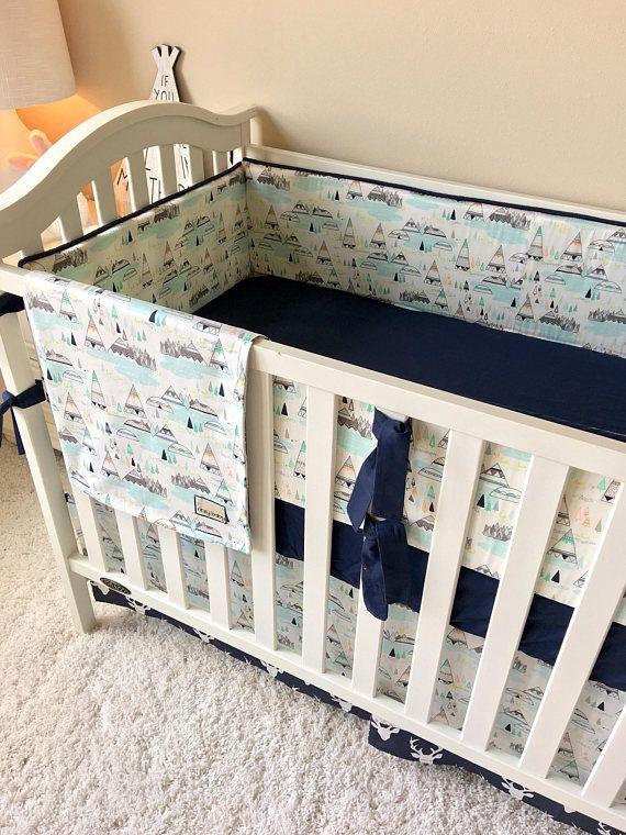 Navy Deer Baby Bedding Mint Tee Pee Flat Bumper Crib Bedding