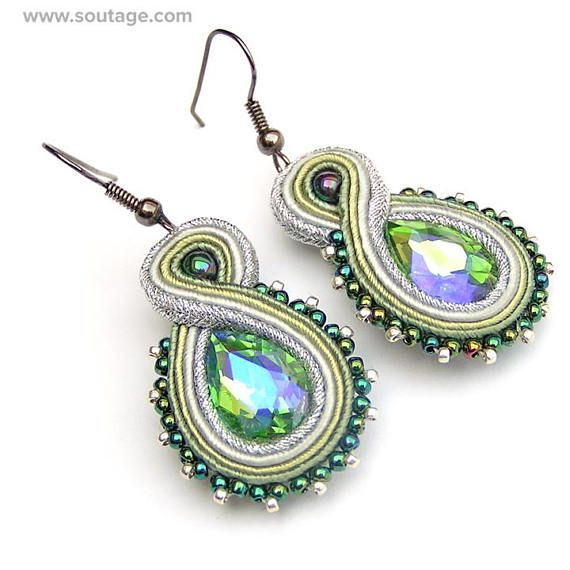 Green-Silver Trifle - this small, elegant earrings with Swarovski crystals are best choice for work day or for evening party. This jewelry piece can be also wonderfull gift for special woman. Using materials: glass beads, soutache, viscose, Swarovski crystals, hematite stones Length of