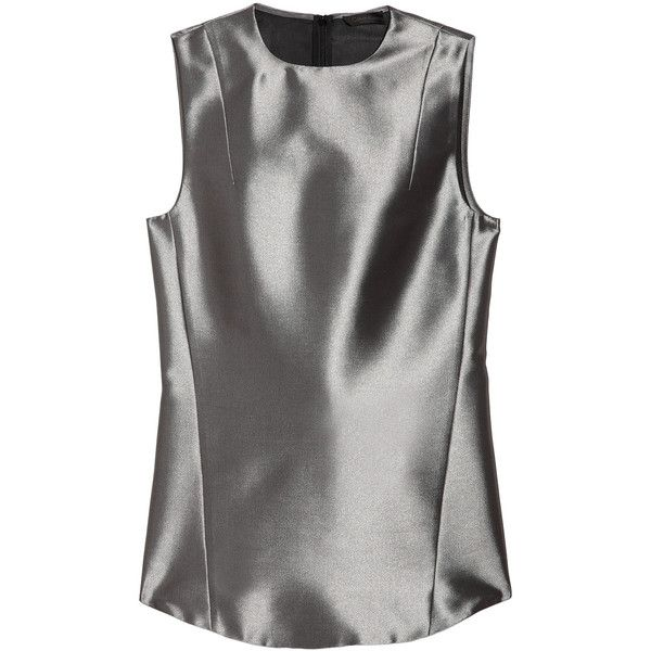 Calvin Klein Collection Maki structured satin top ($265) ❤ liked on Polyvore featuring tops, shirts, sleeveless tops, silver, satin sleeveless top, no sleeve tops, structured top, satin shirt and structure shirts