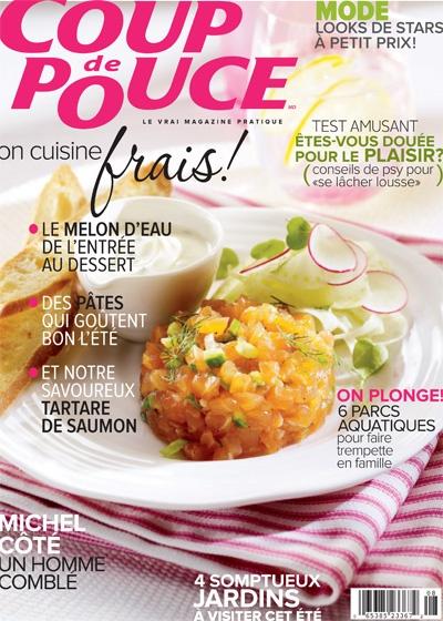 En couverture de notre magazine d'août 2012: Notre tartare de saumon réinventé.