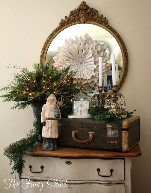 The Fancy Shack: Christmas Home Tour...love the trunk and the music sheet flower!