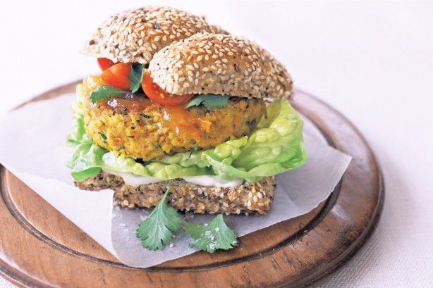 You'll love this hearty curry flavoured burger filled with healthy vegetables, peanut butter and coriander.