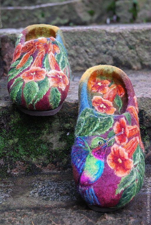 Купить Тапочки «Кампсис» - авторская ручная работа, войлочные тапочки, кампсис, домашние тапочки, цветы