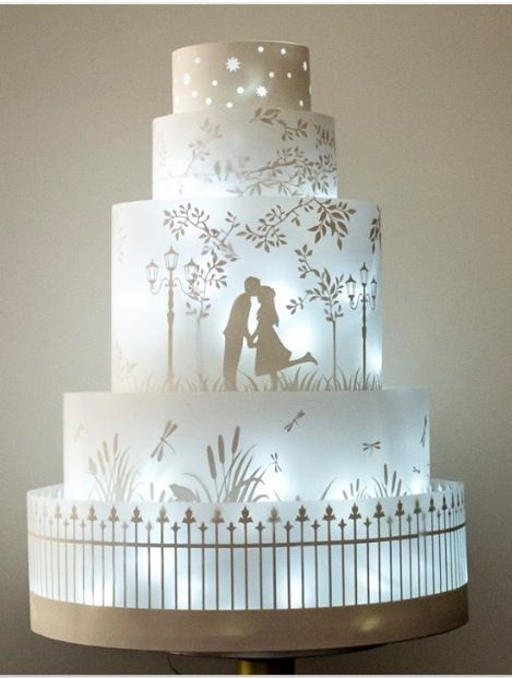 www.cakecoachonline.com -sharing....Illuminated Silhouette Wedding Cake Art