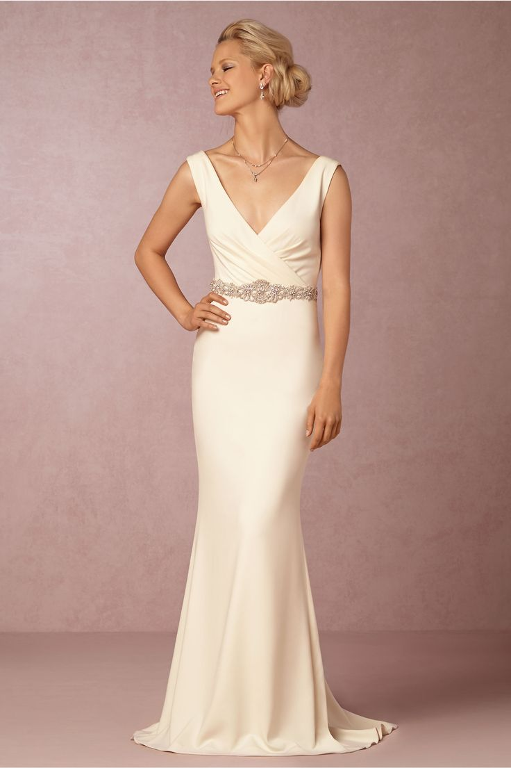 interesting neckline with the scoop back  Livia Gown in Bride Wedding Dresses at BHLDN