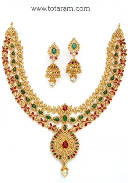 22K Gold Necklace & Drop Earrings Set with Uncut Diamonds - 235-DS581 - Buy this Latest Indian Gold Jewelry Design in 107.150 Grams for a low price of  $9,881.44