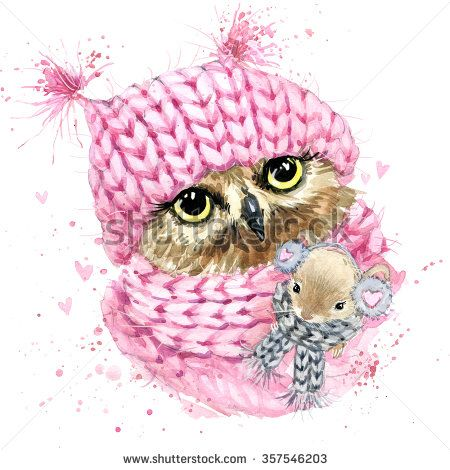 Cute owl T-shirt graphics, watercolor owl and mouse illustration with splash watercolor textured background. illustration watercolor winter owl for fashion print, poster for textiles, fashion design