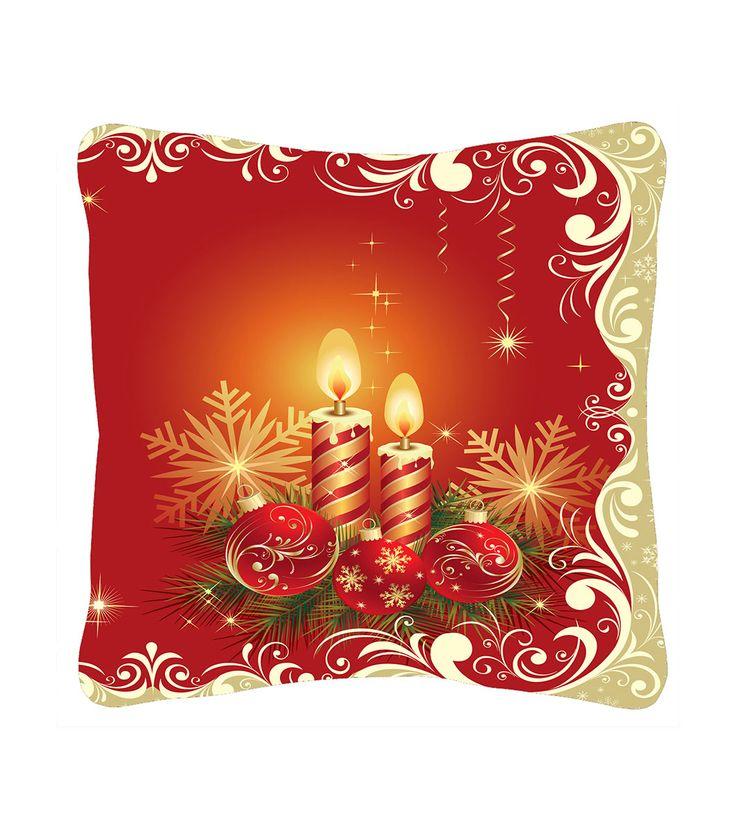 FashionSupreme - Față de pernă de culoare roșie cu imprimeu contrastant de Crăciun - Pentru casă - Feţe de pernă - Sofi - perne decorative cu motive de Crăciun. Haine şi accesorii de marcă. Haine de designer.