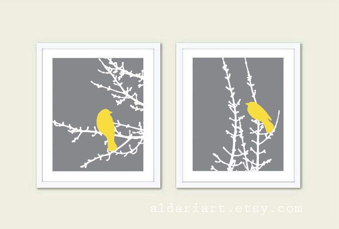 Birds on Branches Art Prints - Set of 2 - Slate Grey and Yellow - Modern Birds Wall Art - Woodland Nursery Art - Bird on Twig Art by AldariArt on Etsy https://www.etsy.com/listing/180005782/birds-on-branches-art-prints-set-of-2