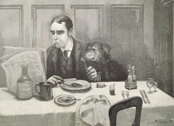 Desayuno con el perro 1892 original victoriana impresión - hombre con perro, lectura de periódico - 125 años antiguo grabado de la ilustración (C255)